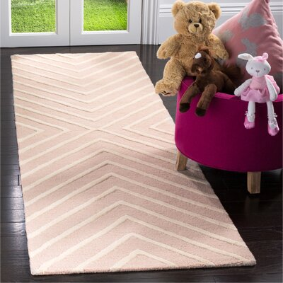 Claro X Pattern Hand-Tufted Pink/Ivory Area Rug Rug Size: Runner 26 x 8