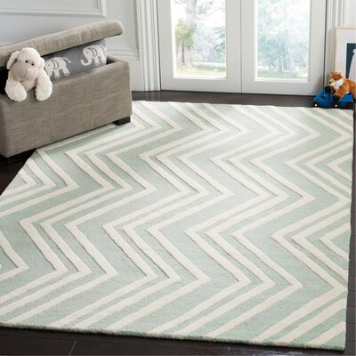 Claro Wave Hand-Tufted Mint/Ivory Area Rug Rug Size: Rectangle 5 x 7