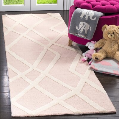 Claro Abstract Hand-Tufted Pink Area Rug Rug Size: Runner 26 x 8