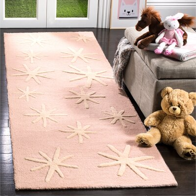 Claro Starbursts Hand-Tufted Pink Area Rug Rug Size: Runner 26 x 8