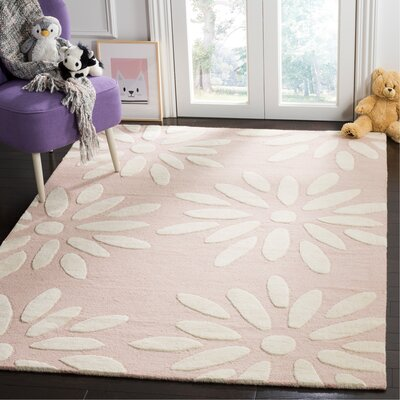 Claro Daisy Hand-Tufted Pink/Ivory Area Rug Rug Size: Rectangle 5 x 7