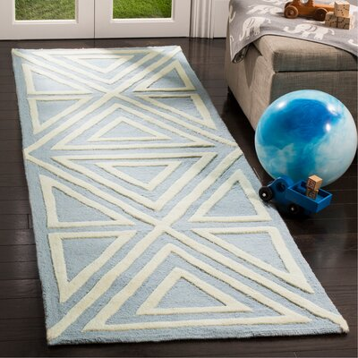 Claro Triangles Hand-Tufted Blue/Ivory Area Rug Rug Size: Runner 26 x 8
