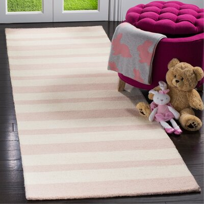 Claro Stripe Hand-Tufted Pink/Ivory Area Rug Rug Size: Runner 26 x 8