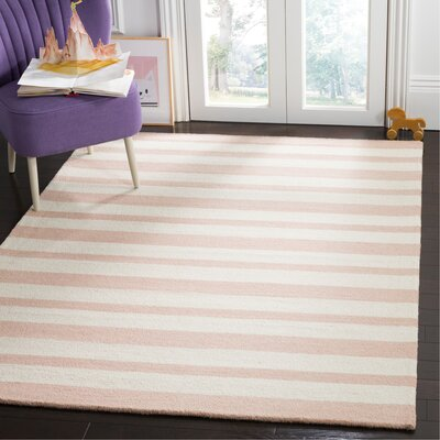 Claro Stripe Hand-Tufted Pink/Ivory Area Rug Rug Size: Rectangle 5 x 7