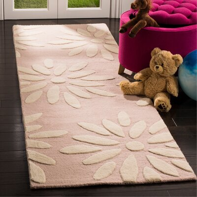 Claro Daisy Hand-Tufted Pink/Ivory Area Rug Rug Size: Runner 26 x 8