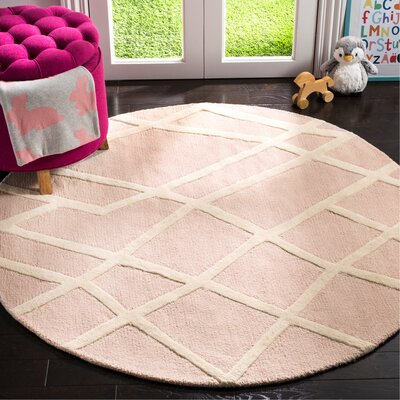 Claro Abstract Hand-Tufted Pink Area Rug Rug Size: Round 5