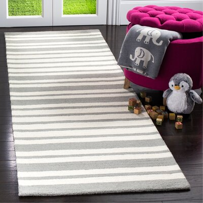 Claro Barcode Hand-Tufted Gray Area Rug Rug Size: Runner 26 x 8