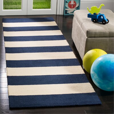 Claro Stripe Hand-Tufted Navy/Ivory Area Rug Rug Size: Runner 26 x 8