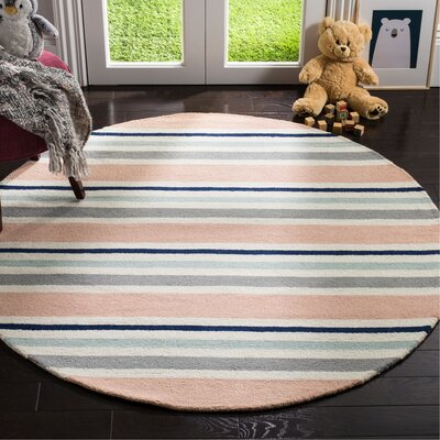 Claro Multi Stripe H-Tufted  Area Rug Rug Size: Round 5