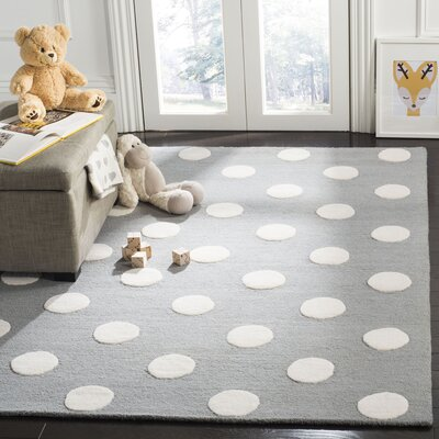 Claro Polka Dots Hand-Tufted Gray/Ivory Area Rug Rug Size: Rectangle 6 x 9