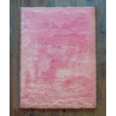 Demetrius Faux Sheepskin Pink/White Area Rug Rug Size: Rectangle 4x 6