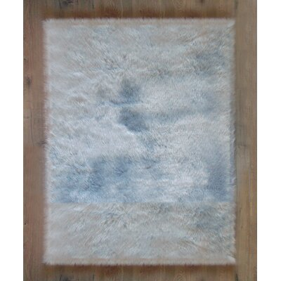 Deshazo Faux Sheepskin Gray/White Area Rug Rug Size: Rectangle 4x 6