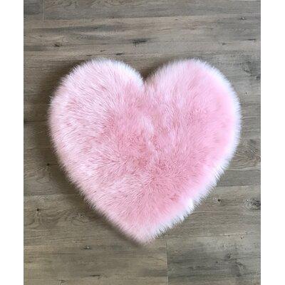 Demetrius Faux Sheepskin Pink/White Area Rug Rug Size: Novelty 28 x 31