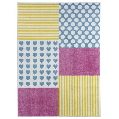 Carlwirtz Patchwork Pink/Yellow/Blue Area Rug Rug Size: Rectangle 36 x 56