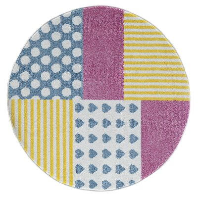 Carlwirtz Patchwork Pink/Yellow/Blue Area Rug Rug Size: Round 48
