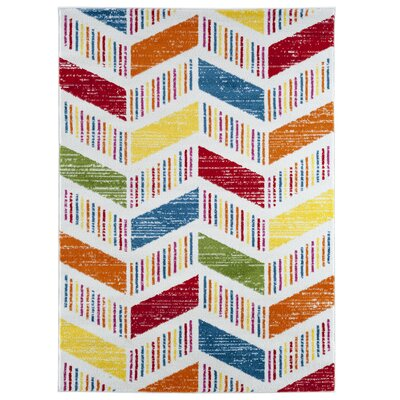 Carlwirtz Contemporary Cream/Orange/Red Area Rug Rug Size: Rectangle 36 x 56
