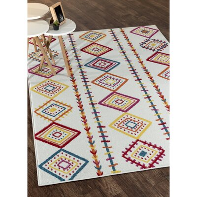 Carlwirtz Cream/Orange/Yellow Area Rug Rug Size: Rectangle 5 x 7