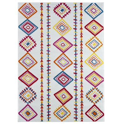 Carlwirtz Cream/Orange/Yellow Area Rug Rug Size: Rectangle 36 x 56