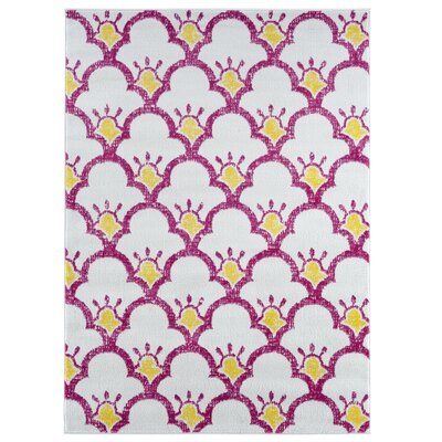 Carlwirtz Pink/Cream/Yellow Area Rug Rug Size: Rectangle 36 x 56