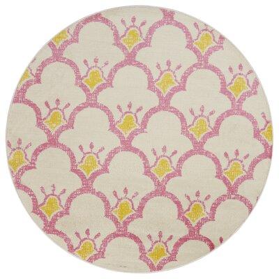 Carlwirtz Pink/Cream/Yellow Area Rug Rug Size: Round 48