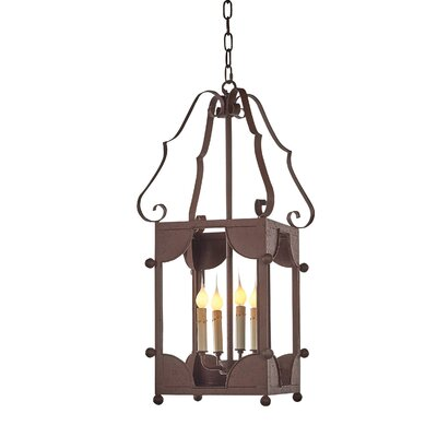 Chelsea 4-Light Lantern Pendant Finish: Rustic Brown, Size: 31