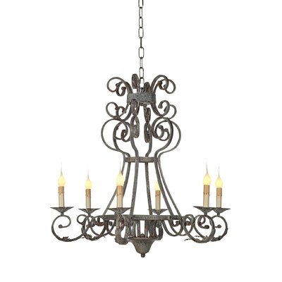 Arizona 6-Light Candle-Style Chandelier Finish: Deep Ocean, Size: 28