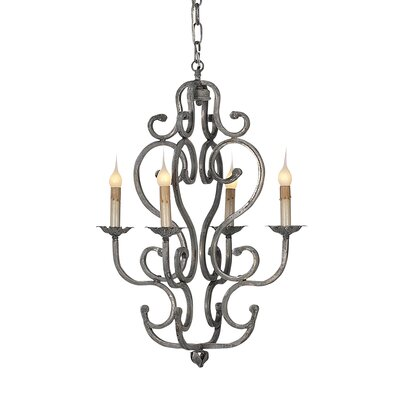 Petite French 4-Light Candle-Style Chandelier Size: 25 H x 18 W x 18 D