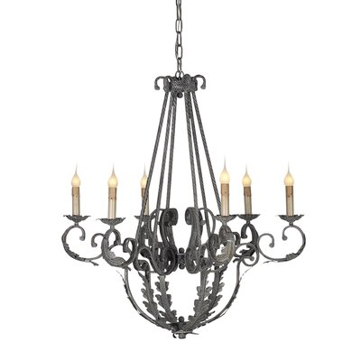 French 6-Light Candle-Style Chandelier
