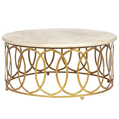 New Coffee Table Size: 18.5 H x 40 W x 40 D, Table Base Color: Gold