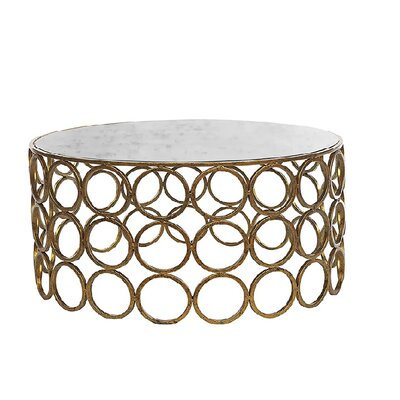 Milan Coffee Table Size: 18.5 H x 36 W x 36 D, Table Base Color: Gold