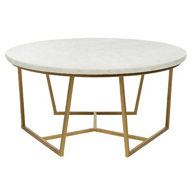 Eclipse Coffee Table Table Base Color: Gilded Gold, Table Top Color: Concrete