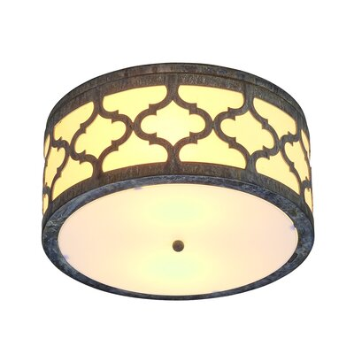 Maria 2-Light Flush Mount Fixture Finish: Rustic Brown