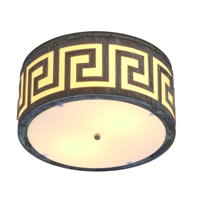 Athens 2-Light Flush Mount Fixture Finish: Distressed Gray