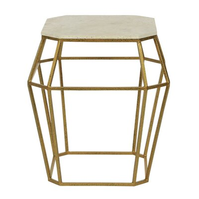 Paris End Table Table Base Color: Antique Black, Table Top Color: Light Travertine