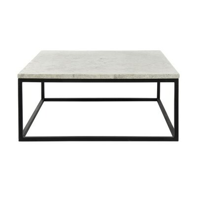 Paris Coffee Table Table Base Color: Antique Black, Table Top Color: Light Travertine