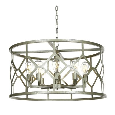 Diamond 8-Light Drum Pendant Finish: Distressed Gray