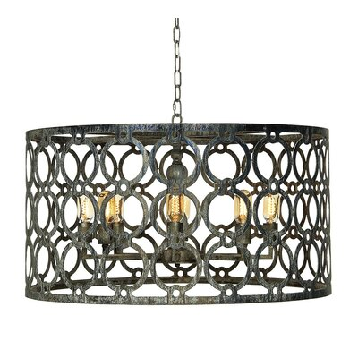 Ringlet 8-Light Drum Pendant Finish: Distressed Gray