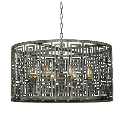 Greek Key 8-Light Drum Pendant Finish: Deep Ocean