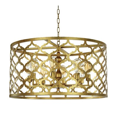 Quatrefoil 8-Light Drum Pendant Finish: Rustic Brown
