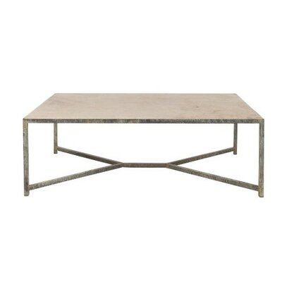 Web Coffee Table Table Base Color: Antique Black, Table Top Color: Light Travertine