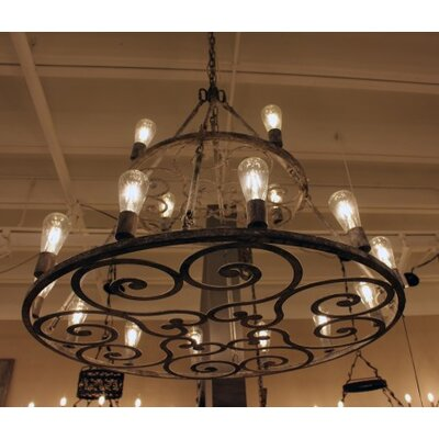 Heritage 12-Light Candle-Style Chandelier Finish: Distressed Gray
