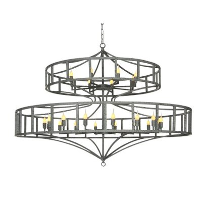 Phoenix Large 20-Light Drum Chandelier Finish: Antique Black