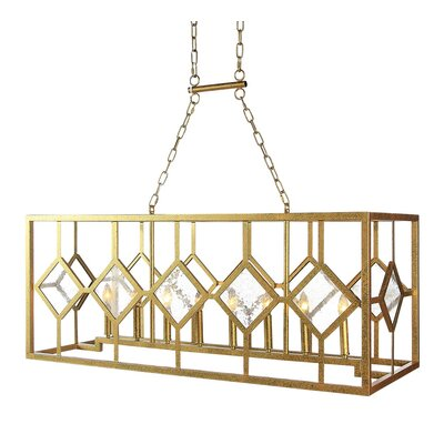 Diamond Oblong 8-Light Kitchen Island Pendant Finish: Gilded Gold