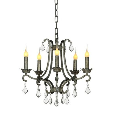 Abella 5-Light Candle-Style Chandelier Finish: Rustic Brown