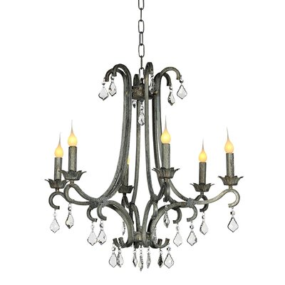 Bella 6-Light Candle-Style Chandelier Finish: Distressed Gray