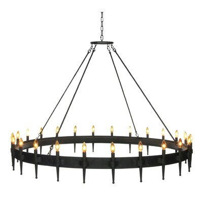 Dallas Large 24-Light Candle-Style Chandelier Finish: Antique Black