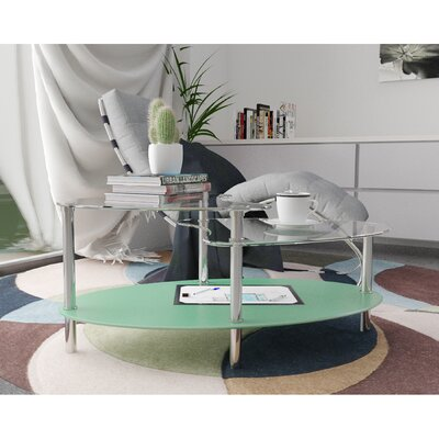 Hegarty 38 Oval Two Tier Glass Coffee Table