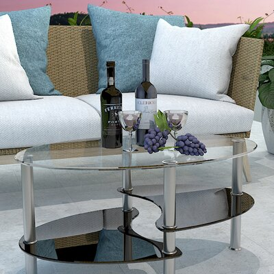Odette 38 Oval Two Tier Glass Coffee Table Top Finish: Clear