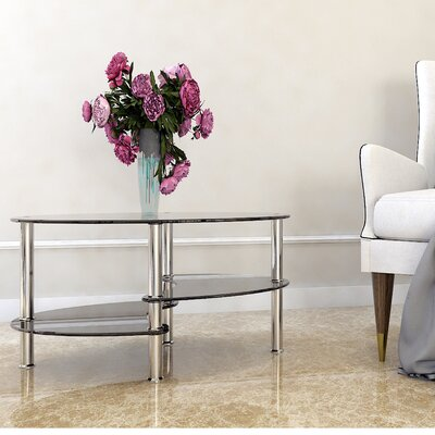 Odette 38 Oval Two Tier Glass Coffee Table Top Finish: Black