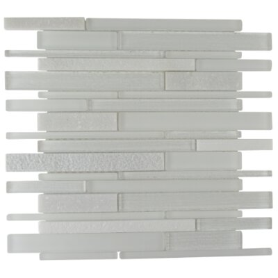 Ethereal Linear Glass Stone Blend Mosaic Tile in Polar